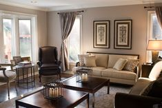 Traditional Chocolate Brown and Tan Living Room - traditional - living room - philadelphia - Amy Barrickman Design, LLC-Benjamin Moore Pashmina