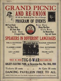 """""""Grand picnic and re-union of all the radicals of the city of Chicago"""" (1918), Industrial Workers of the World"""