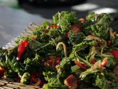 Braised Kale with Red Bell Pepper and Bacon recipe from Guy Fieri via Food Network