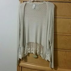 American Rag beautiful knitted w/ lace sweater Super cute, super soft, super stretchy! Great for any occasion!. Beautiful lace pattern on the bottom makes it more feminine. Worn a few times! American Rag Jackets & Coats Blazers
