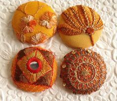 4 fabric covered buttons  orange/rust  1.5 ♡ by EmbellishedLife2