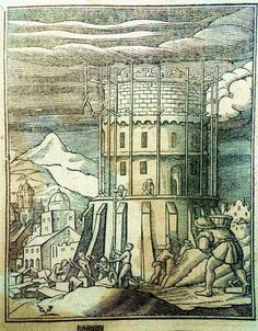 The Tower of Babel by the Swiss/Dutch artist Christoffel van Sichem the Younger (1581-1658) - Woodcut 1630