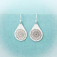 Mandala Teardrop Earrings in Sterling Silver Mandala Flower | Etsy