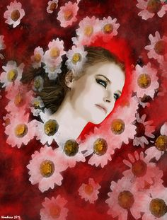 YOU DON'T KNOW WHY...digital work by Nemhesia. #nemhesia #digital #art #painting #smudge #brush #poster #postcard #woman #portrait #fantasy #daisy #daisies #flowers #red #background #blood