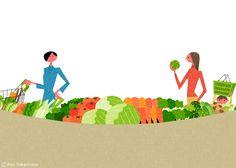 武政 諒 Ryo Takemasa | News & Blog : 雑誌『オレンジページ』の野菜特集でイラストレーションを担当しました。 Illustrations for Orange Page magazine.