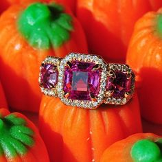 Pink Sapphire pumpkin picking  pink sapphire ring by Ricardo Basta Fine Jewelry - diamond and pink sapphire ring