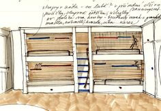 návrh palandy bunk bed design idea sketches hand drawn