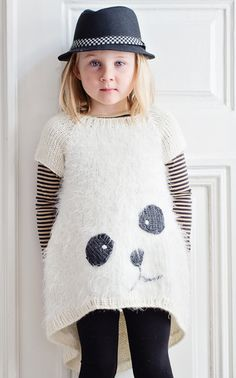 knitted panda sweater // knitting pattern in Finnish via Novita LTDv Knitting For Kids, Crochet For Kids, Knitting Projects, Baby Knitting, Knit Crochet, Fashion Kids, Baby Patterns, Knitting Patterns, Pull Jacquard
