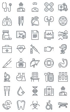 40 Hospital, health icons by howcolour on Creative Market