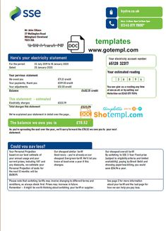 United Kingdom SSE Energy utility bill template in Word format, version 3 Bill Template, Birth Certificate Template, Utility Bill, Energy Bill, Best Templates, Word Doc, United Kingdom, Reading, Words