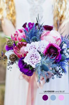Purple Wedding Flowers purple and blue bouquet with protea - Greenhouse Entomology inspiration. Purple Bouquets, Blue Bouquet, Wedding Bouquets, Wedding Flowers, Protea Bouquet, Flower Bouquets, Wedding Color Schemes, Wedding Colors, Wedding Themes