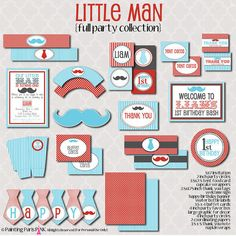 Little Man Party  FULL Printable Party by PaintingParisPink, $40.00