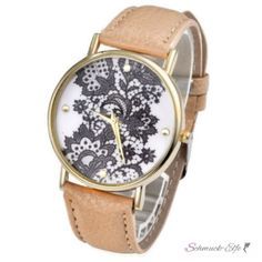 Damen Armbanduhr Spitze  Gelbgold PU Leder sand / beige