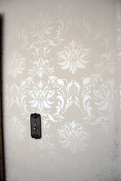 the walls were hand stenciled to give a damask pop - hallway instead of wallpaper Damask Stencil, Stencil Walls, Bird Stencil, Stencil Patterns, Bedroom Decor, Wall Decor, Tadelakt, Of Wallpaper, Bathroom Wallpaper