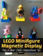 Looking for a simple, but USEABLE way to display Lego Minfigures? Check out this magnetic display board and 4 other Lego organizational tips!