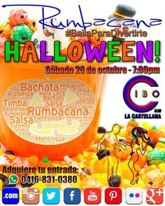 """Este sábado 29 de octubre desde las 7:00 pm en Cibo Club (La Castellana) disfruta de la """"Rumba de los Caramelos Halloween 2016""""  Con la mejor música variada 100% Bailable a cargo de #RumbacanaMusic  #Bachata #Kizomba #Merengue #Salsa #Timba  Trae tus caramelos para compartir. Premio a la MESA MAS RUMBERA.  Haremos un Flashmob de Thriller con los asistentes.  Trae tus pitos matracas sombreros pelucas para la mejor #HoraLoca #Bailoterapia  Adquiere tu entrada al whatsapp 58 416 831 0380…"""
