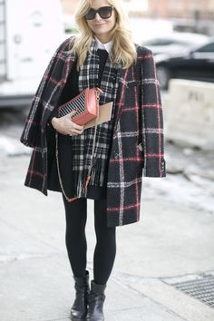 When in doubt, layer on the plaid.  #NYFW #plaid
