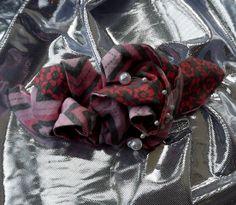 Pink calico hair clip vintage rose