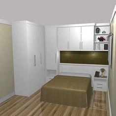Resultado de imagem para quarto de casal pequeno com guarda roupa em L