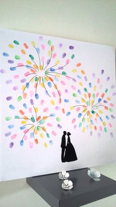 """guestbook, fingerprint tree """"Fireworks"""" with 1 ink 6 colors available, wedding, pacs… on a canvas with stretcher """""""" – Animation ideas Guestbook Wedding, Tree Wedding, Wedding Guest Book, Rustic Wedding, Our Wedding, Wedding Gifts, Tree Branch Tattoo, Tree Plan, Fingerprint Tree"""