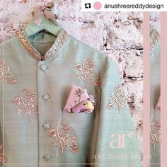 Pastel and floral grooms sherwani Sherwani For Men Wedding, Sherwani Groom, Mens Sherwani, Wedding Men, Punjabi Wedding, Wedding Suits, Farm Wedding, Wedding Couples, Wedding Bells