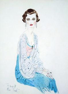 "mote-historie: "" Portrait of Margaret, Duchess of Argyll - 1934 - by Sir Cecil Beaton - Watercolour and pencil - "" Cecil Beaton, Pin Up, Art And Illustration, Woman Painting, Fashion Sketches, Fashion Illustrations, Vintage Illustrations, Vintage Art, Fashion Art"