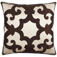 "Bukhara Pillow 24"" - Chocolate & Cream ($70) ❤ liked on Polyvore"