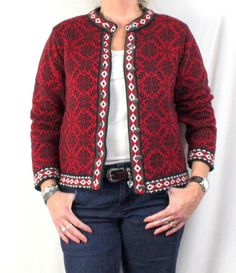 LL Bean Cardigan Sweater L size Red Black Snowflake Nordic Flare Heavy Cotton