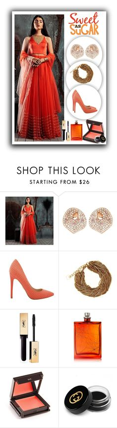 """""""Indulge in Ethnic Fashion with @DiyaRajvvir @TheCaratRoom @house_of_hula #Janikoshoes #ShopAtMayfair"""" by atmayfair ❤ liked on Polyvore featuring Yves Saint Laurent, The Beautiful Mind Series, Jouer, Gucci, orange, ootd, ShopAtMayfair, PolyvoreMostStylish and Janikoshoes"""