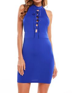 Amazon.com: Zeagoo Women Solid Sleeveless Lace Up Cocktail Bodycon Knee Length Dress: Clothing