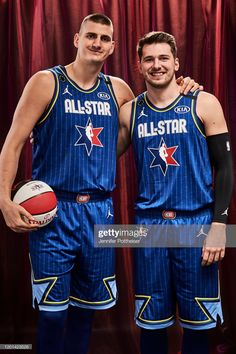 Nikola Jokic and Luka Doncic of Team LeBron pose for a portrait during the NBA All-Star Game as part of 2020 NBA All-Star Weekend on February 2020 at the United Center in Chicago, Illinois. Get premium, high resolution news photos at Getty Images Basketball Posters, United Center, Denver Nuggets, Dallas Mavericks, Action Poses, Nba Players, Dream Team, Kobe Bryant, All Star