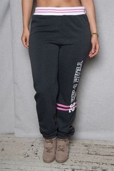 Luscious Cream Team Pink Plus-Size Sweatpants With Striped High Rise Waistband - Charcoal Charcoal, Sweatpants, Plus Size, Leggings, Cream, Pink, Fashion, Creme Caramel, Moda