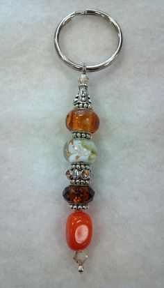 Beaded Keychain Brown Orange and White by CanineKingdomOK on Etsy, $12.49