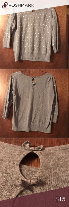 Grey Dotted Bow-Back Sweater Grey Dotted Sweater with Bows in Back. Size Large LC Lauren Conrad. LC Lauren Conrad Sweaters Crew & Scoop Necks