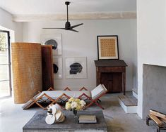 7 Ceiling Fans You Won't Hate – The Evans Edit Outdoor living area with Minka Aire simple outdoor ceiling fan, concrete floors and walls, concrete fireplace, design from Elle Decor Architectural Digest, Home Renovation, Driven By Decor, Virginia Homes, Living Spaces, Living Room, Living Area, Interior Decorating, Interior Design