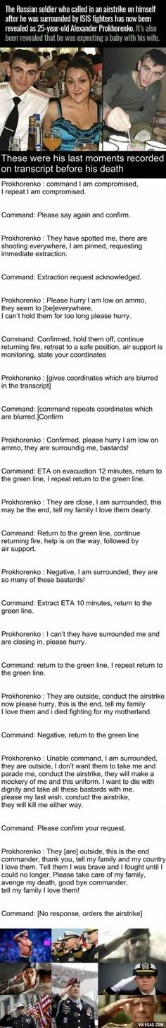 Alexander Prokhorenko, a true hero - that was really hard to read through, I may have started crying, so heartbreaking
