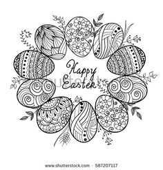 Doodle decorative eggs and bunny,rabbit for Easter card. May be used as an invitation or a foliage for different printings,page for coloring book for adult