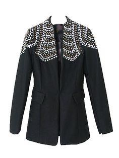 Slim Black Blazer With Rhinestone Decoration Shoulder   Choies
