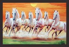 7 Seven Running Horses vastu Painting (UV Textured Print 18 x Mad Masters (Paper) Seven Horses Painting, White Horse Painting, Horse Canvas Painting, Wallpaper Ceiling, Horse Wallpaper, Rajasthani Painting, Horse Wall Art, Wine Bottle Art, Running Horses