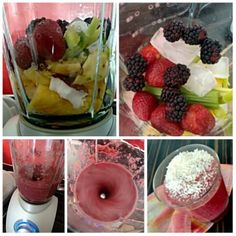 jagodowy smoothie Fruit Salad, Paleo, Smoothie, Food, Fruit Salads, Essen, Beach Wrap, Smoothies, Meals