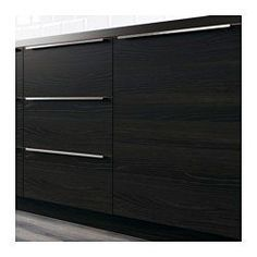 "IKEA - TINGSRYD, Door, 15x30 "", , TINGSRYD wood effect black is a smooth-faced door with a dark tone and prominent wood grain pattern. It creates a modern kitchen with a warm and welcoming feel.Melamine is very durable, resistant to moisture, staining, scratching and impacts. It is easy to clean.25-year Limited Warranty. Read about the terms in the Limited Warranty brochure.You can choose to mount the door on the right or left side."
