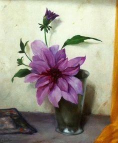 Gerrit David Labots (1869-1959) - Still life with Dahlia, oil on canvas, 30,2 x 24,2 cm.
