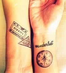 What does wanderlust tattoo mean? We have wanderlust tattoo ideas, designs, symbolism and we explain the meaning behind the tattoo. Time Tattoos, Tattoos With Meaning, Compass Tattoo, Tattoo Designs, Wanderlust, Ideas, Meaning Tattoos, Symbolic Tattoos, Tattooed Guys