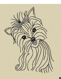 Yorkie Embroidery Design File Redwork by DigitalHorses on Etsy Embroidery Applique, Cross Stitch Embroidery, Embroidery Patterns, Cross Stitch Patterns, Machine Embroidery, Dog Sweaters, Craft Patterns, Dog Art, Needlework