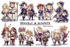 bravely default x octopath traveler by yoshida akihiko Nintendo Characters, Cute Characters, Anime Characters, Game Character, Character Concept, Character Design, High Fantasy, Fantasy World, Final Fantasy