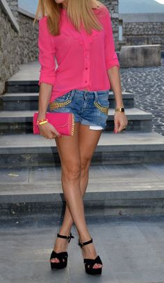So pretty! I love the hot #pink color of the skirt and #denim shorts are beautiful!