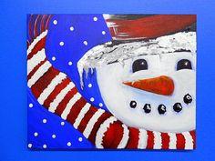 Original Modern Snowman Christmas Seasonal by GalleryOffBroadway, $95.00