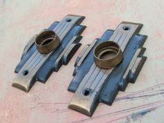 Two Antique Art Deco Key Hole Plates
