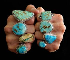 I'd wear em all, not at the same time, but I'd wear em all. Turquoise rings from harpo-paris.com