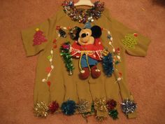 disney Mickey Mouse  Ugly Christmas sweater holiday party winner tacky Man's L woman's plus